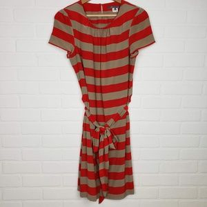 Anthropologie Pippa Red Tan Striped Dress 4